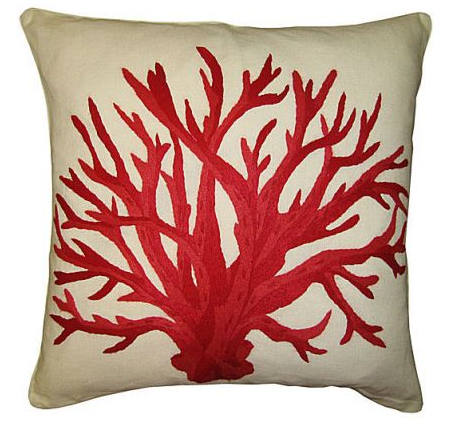 embroidered red coral pillow from margaux interiors