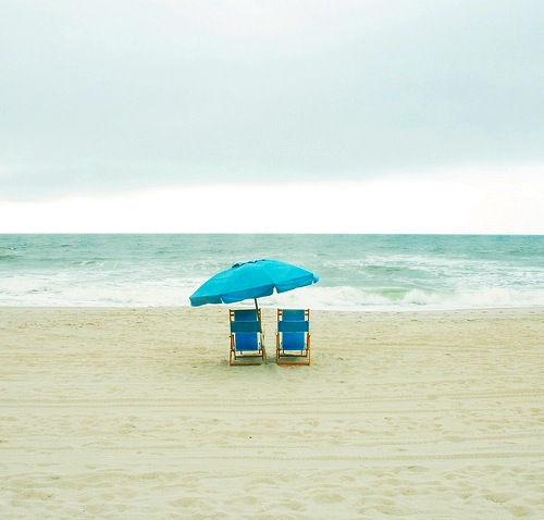 Beach-Ocean-Loung-Chairs-Two-Umbrella-Sand