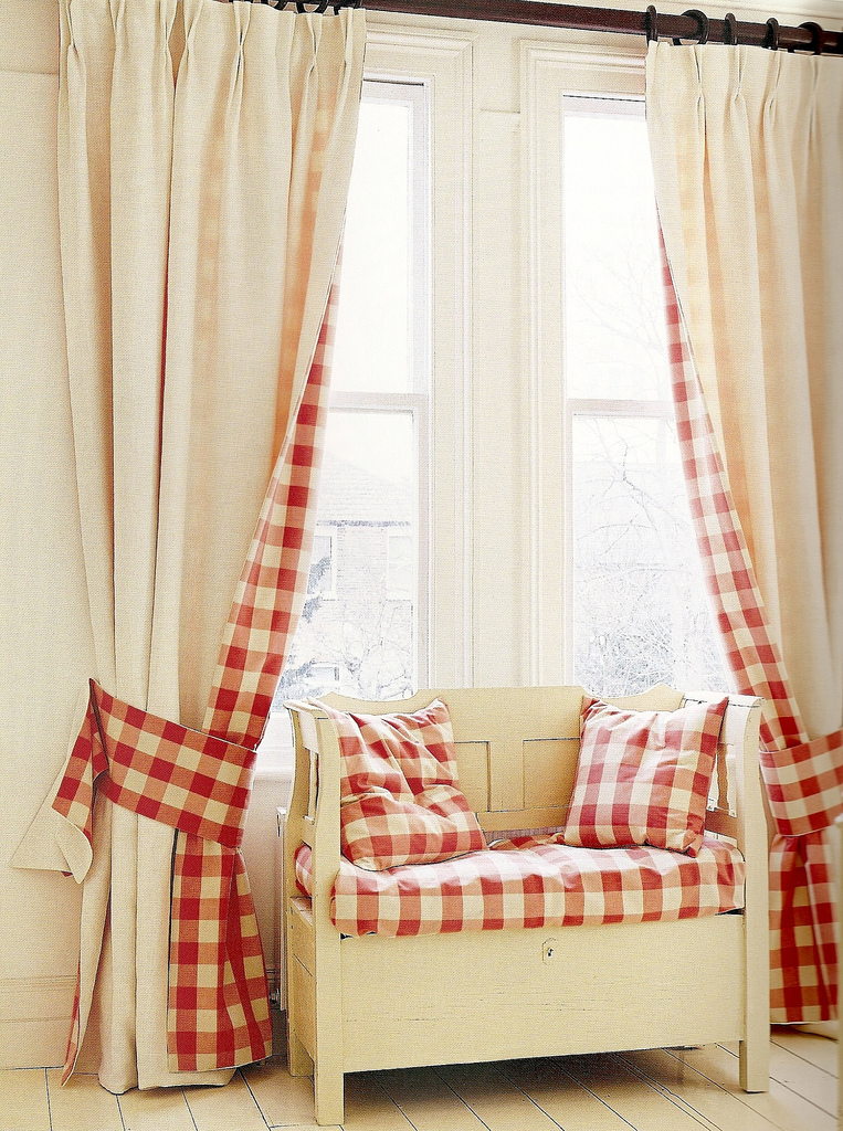 country-house-red-plaid-checked-curtains-window-seat