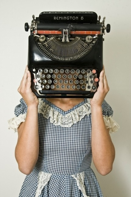 girl-remington-typewriter-blue-white-plaid-dress