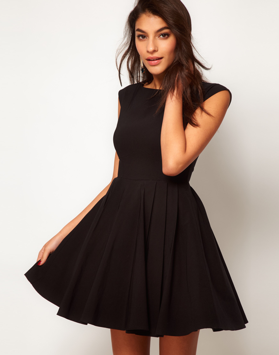0b53ea679ced black-full-skirt-skater-dress-retro-ASOS - Katie Considers