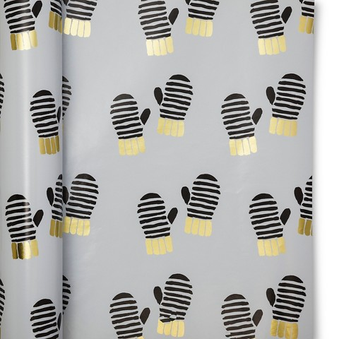 sugar-paper-gold-black-mittens-holiday-gift-wrapping
