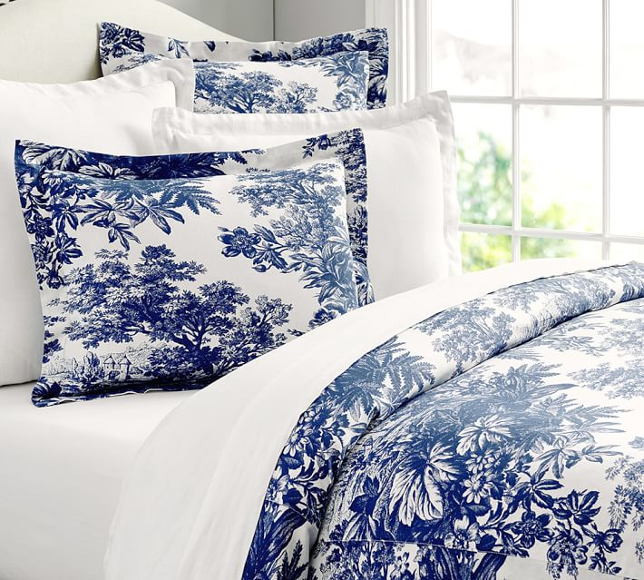 Toile Blue Bedding 108