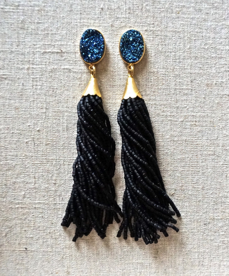 beaded-tassel-earrings-druzy-gemstone-drop-st-raine-etsy-10