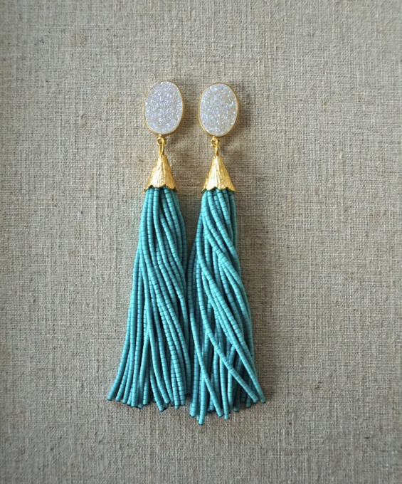 beaded-tassel-earrings-druzy-gemstone-drop-st-raine-etsy-4