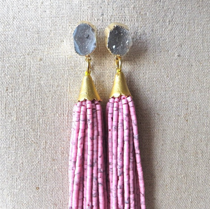 beaded-tassel-earrings-druzy-gemstone-drop-st-raine-etsy-5