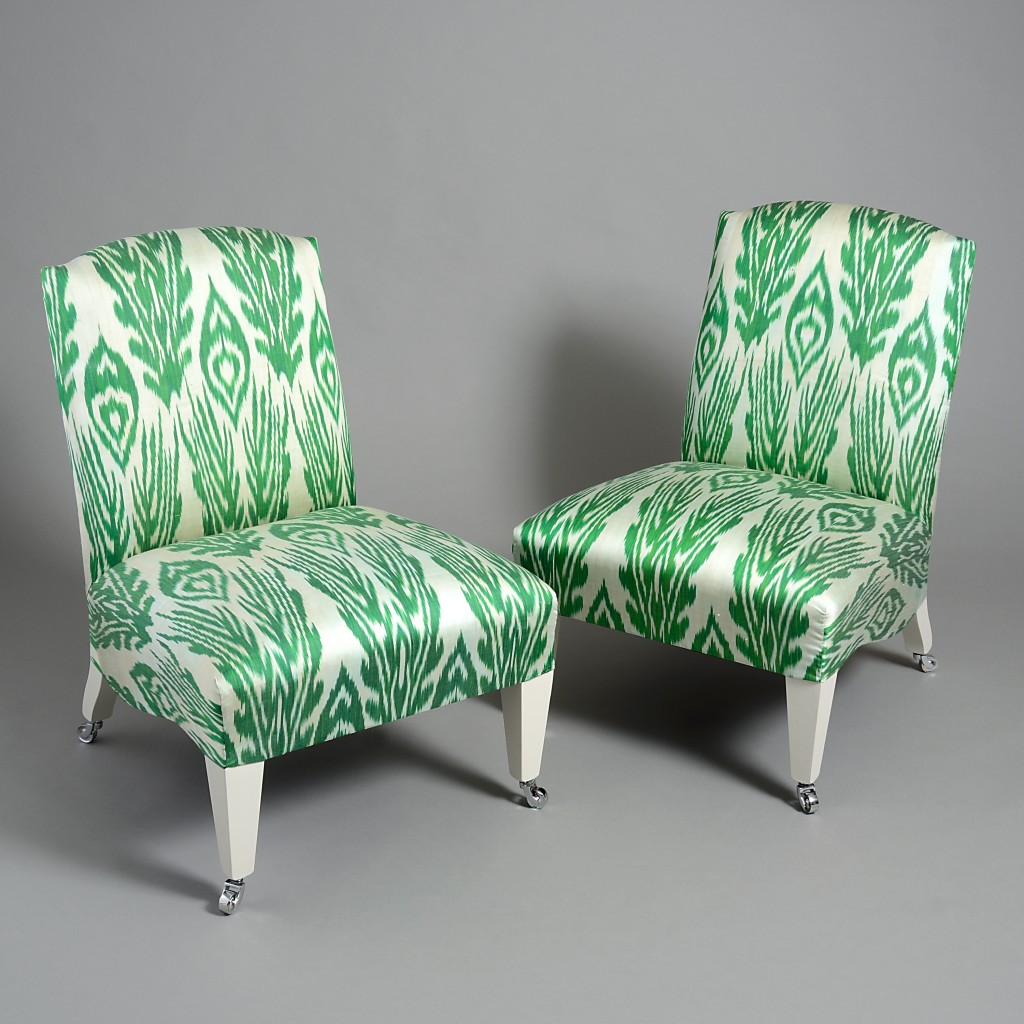 carolina-irving-and-penny-morrison-london-showroom-shop-ikat-slipper-chairs-green