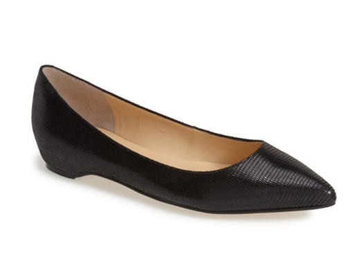 snake-print-black-pointed-toe-flat