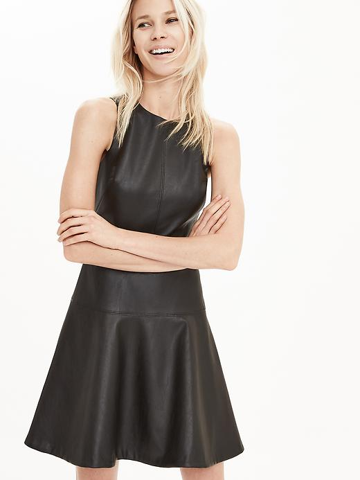 faux-leather-fit-flare-dress