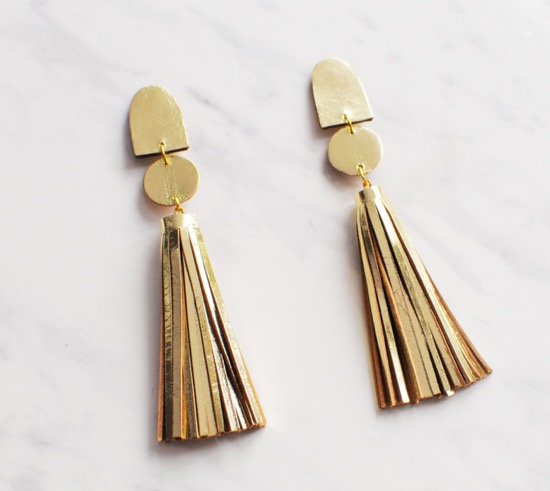 handmade-gold-leather-tassel-earrings-etsy