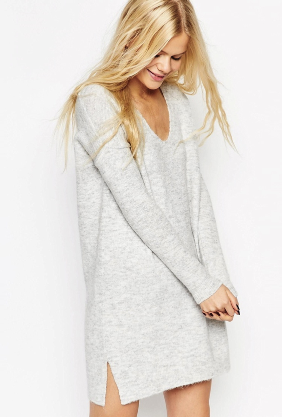 v-neck-dress-knit-asos-grey