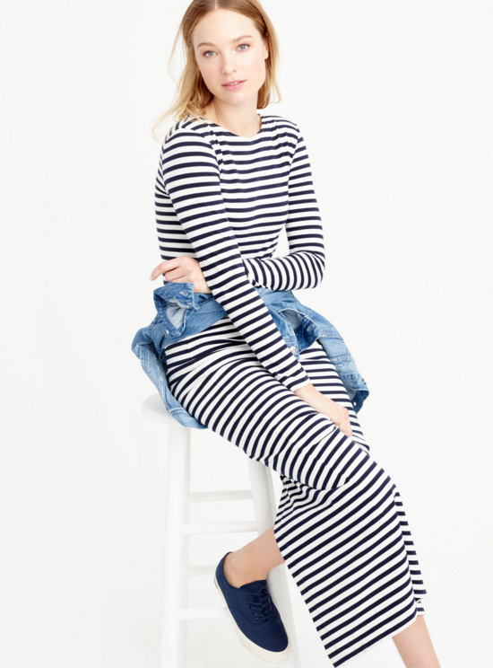 long-sleeved-striped-maxi-dress