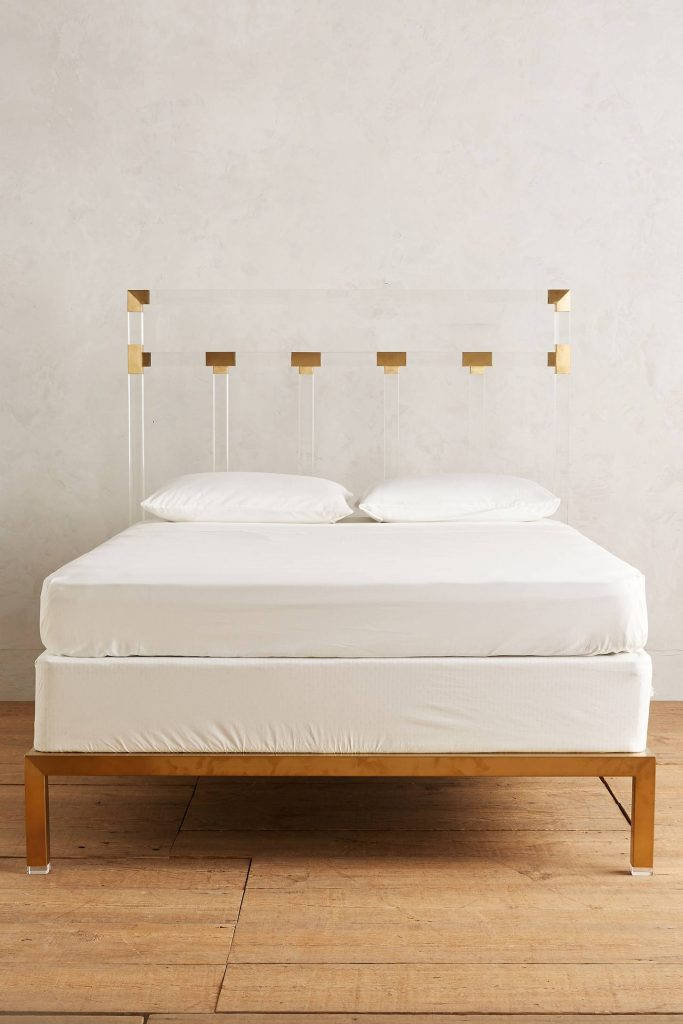 lucite-and-brass-bed