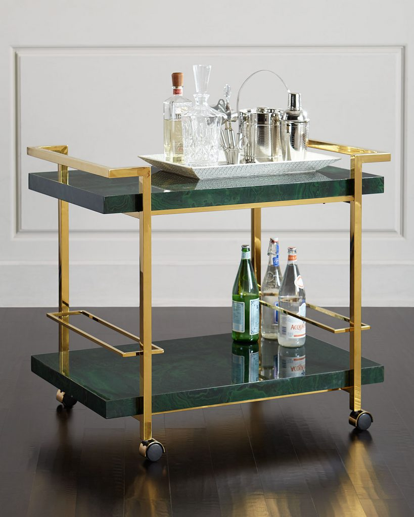 malachite-bar-cart