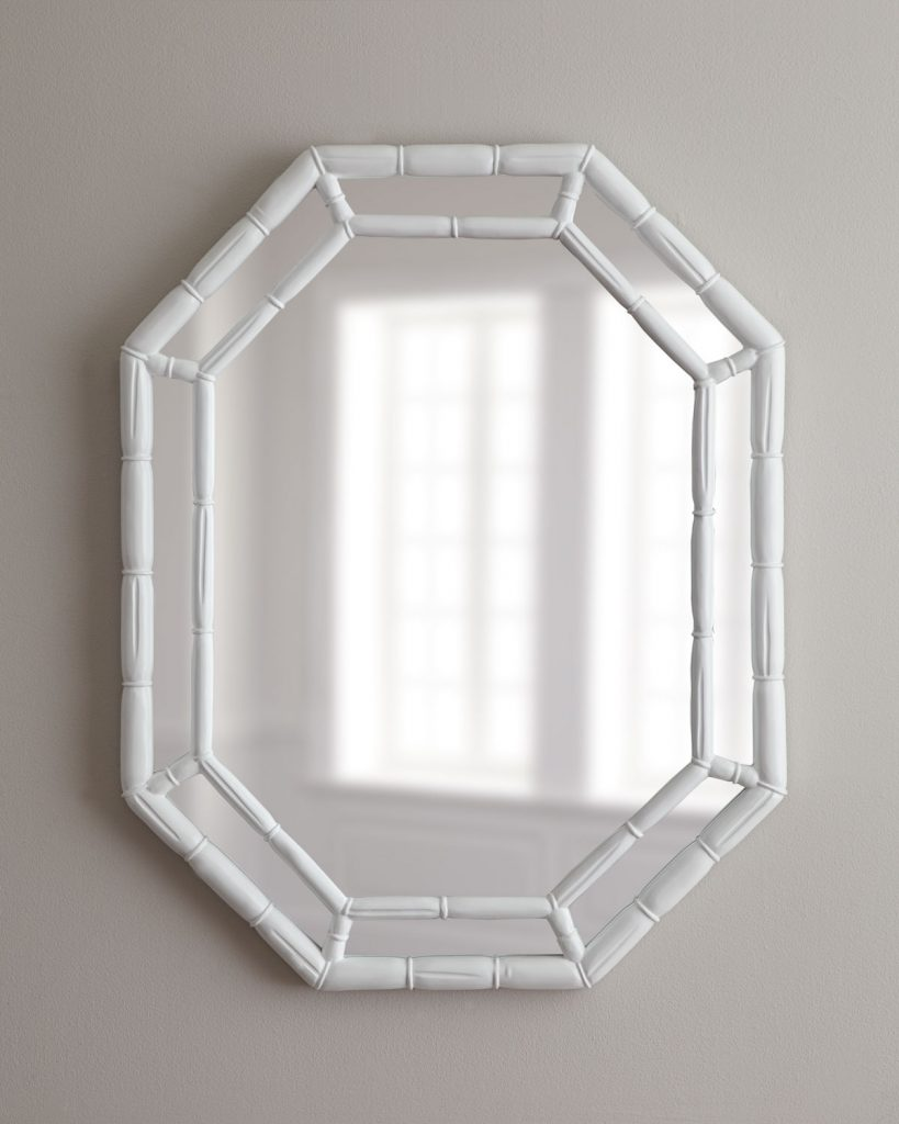 white-octogonal-bamboo-mirror