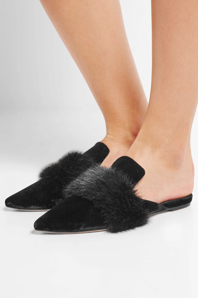 faux-fur-trimmed-velvet-slippers
