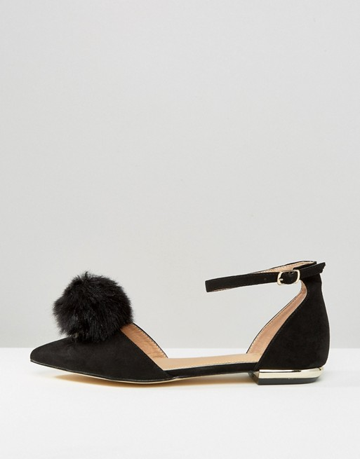 pom-pom-ankle-strap-point-flat-shoes