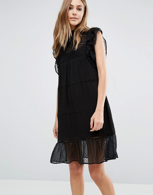 ruffle-swiss-dot-dress-black