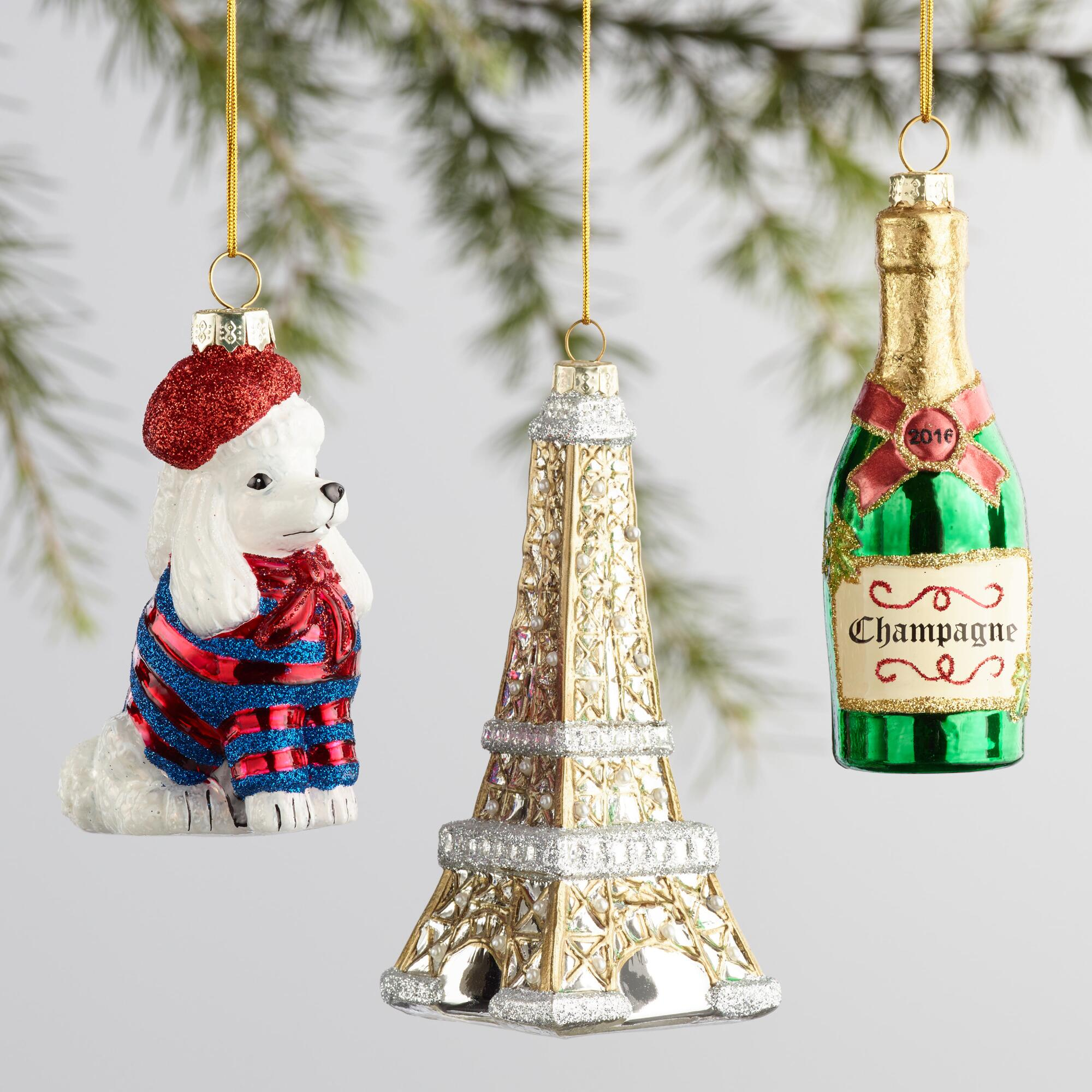 champagne-eiffel-tower-poodle-ornaments