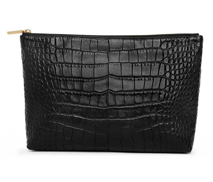 croc-embossed-leather-zipper-pouch