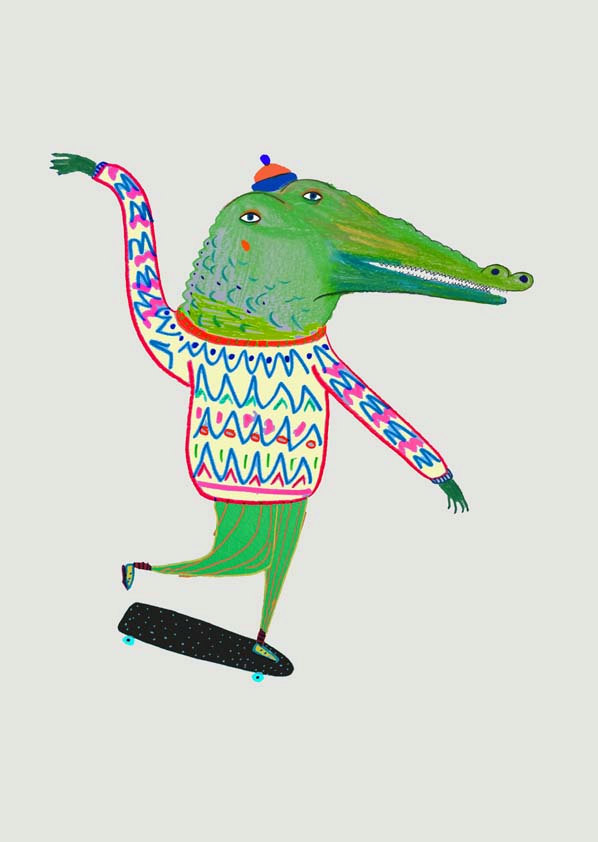crocodile-skateboarder-art-print-nursery-boys