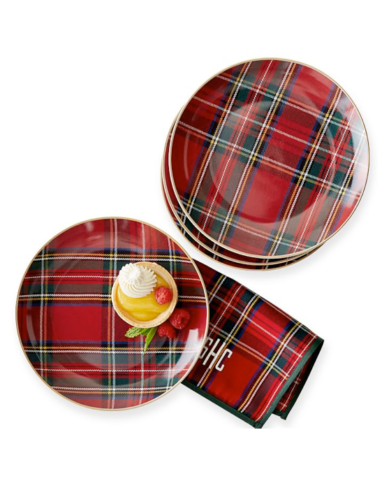 gold-rimmed-plaid-dessert-plates
