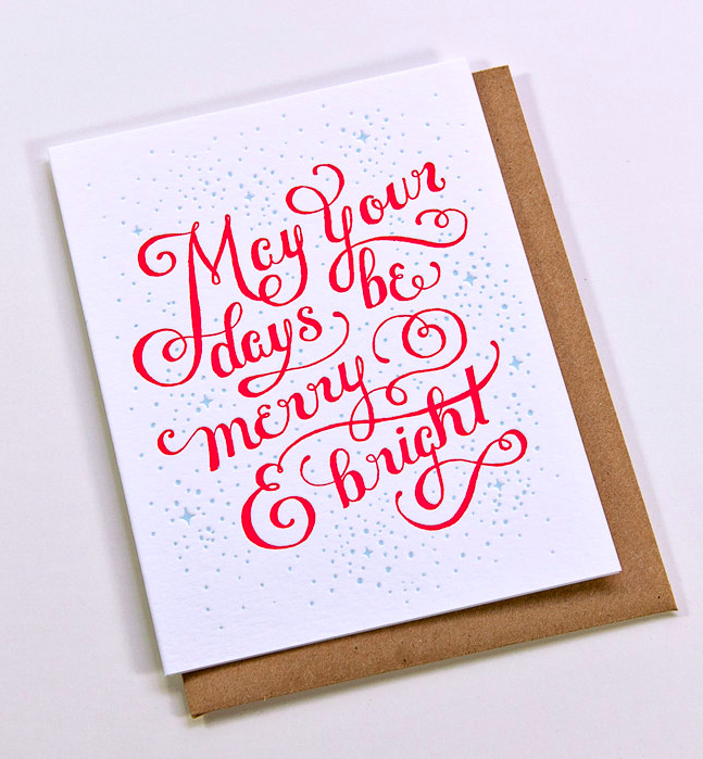 Letterpress Christmas Cards.Merry And Bright Letterpress Christmas Card Katie Considers