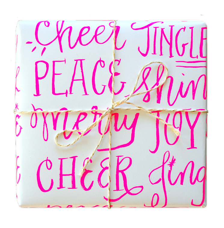 neon-pink-christmas-wrapping-paper