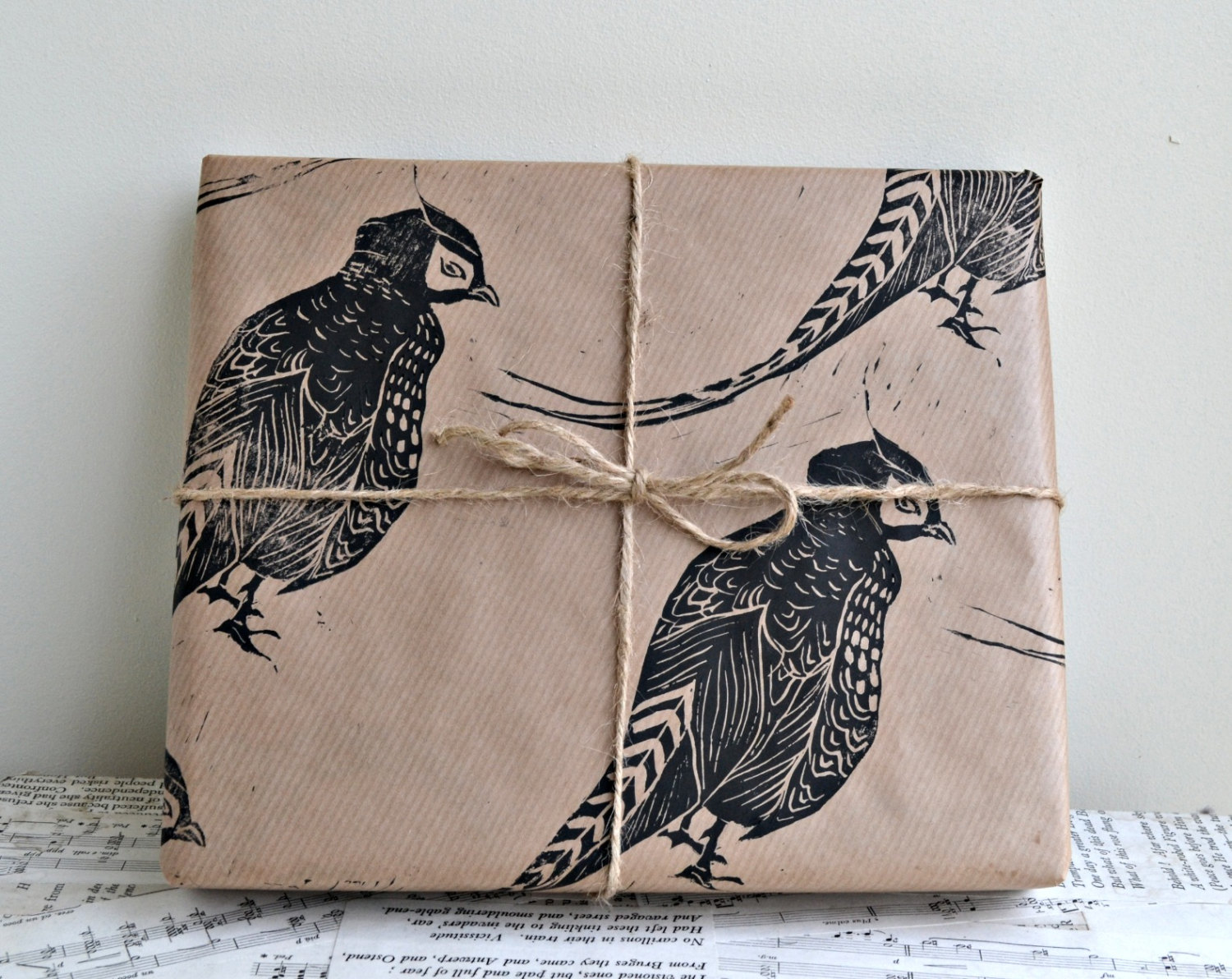 pheasant-hand-printed-wrapping-paper-gift-christmas