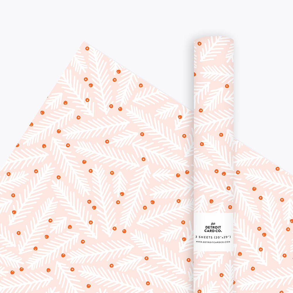 pine-holly-christmas-wrapping-paper-pink