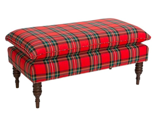 red-plaid-pillow-top-bench-ottoman