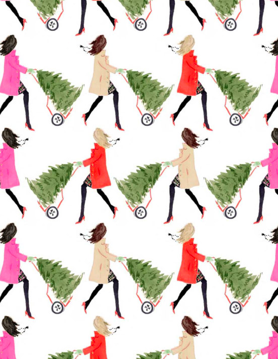 tree-toting-girls-wrapping-paper