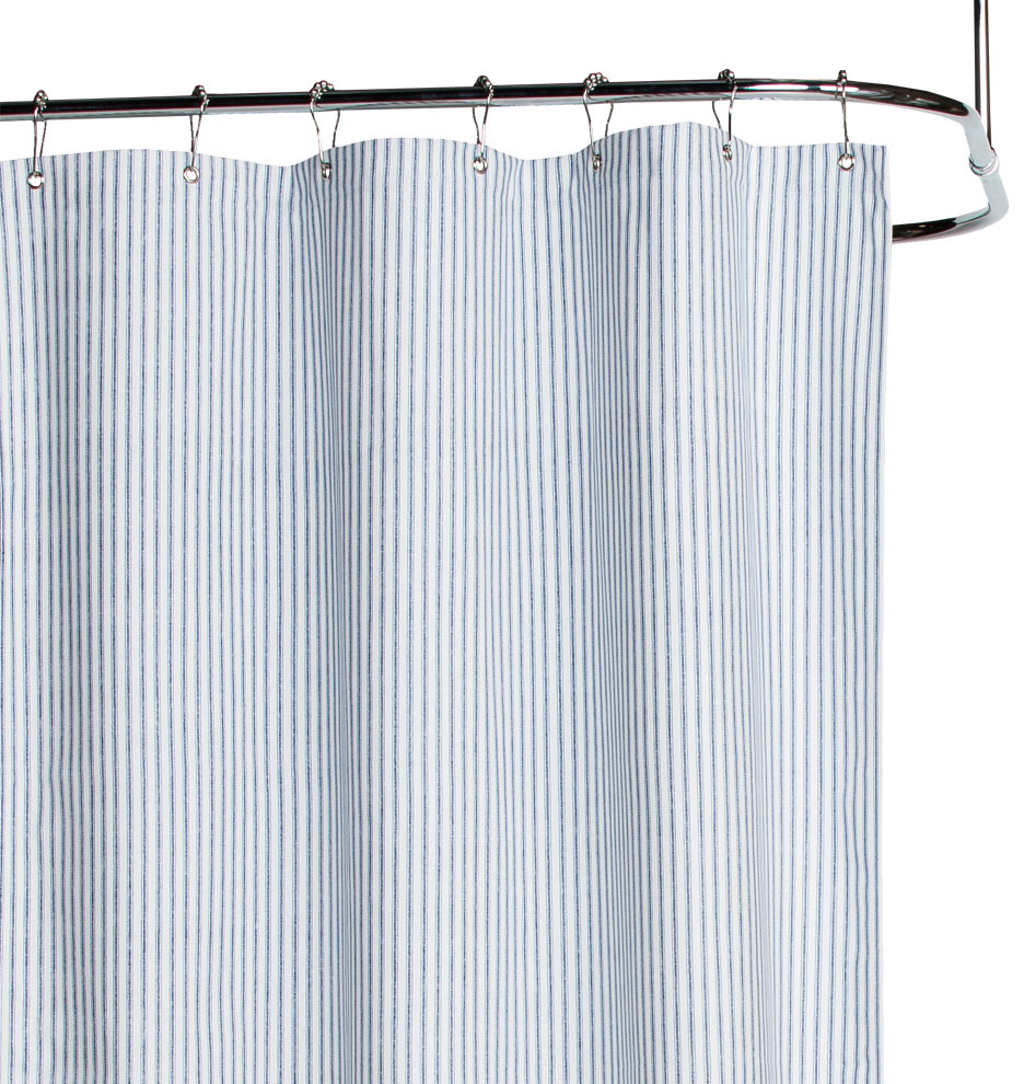 Blue Ticking Stripe Duck Cloth Shower Curtain
