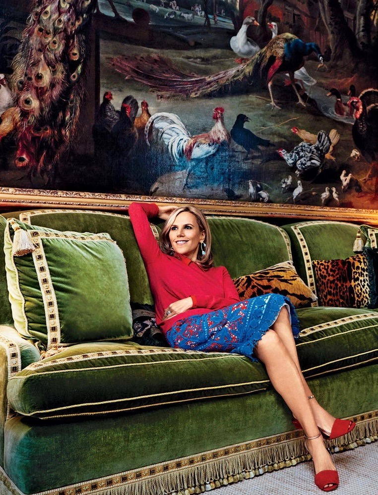 Tory Burch New York Apartment Green Velvet Walls Living Room Sofa