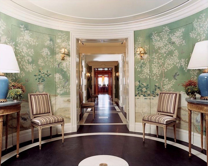 Tory Burch New York Apartment Home Foyer Chinoiserie Wallpaper Gracie Studio de Gournay Entry Blue The Pierre