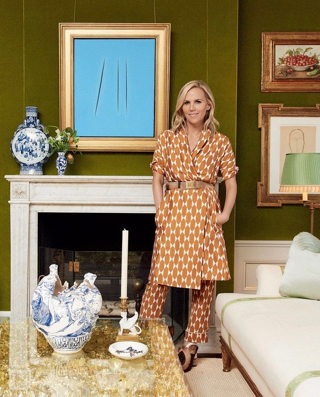 Tory Burch at Home in New York City Green Velvet Walls Fireplace
