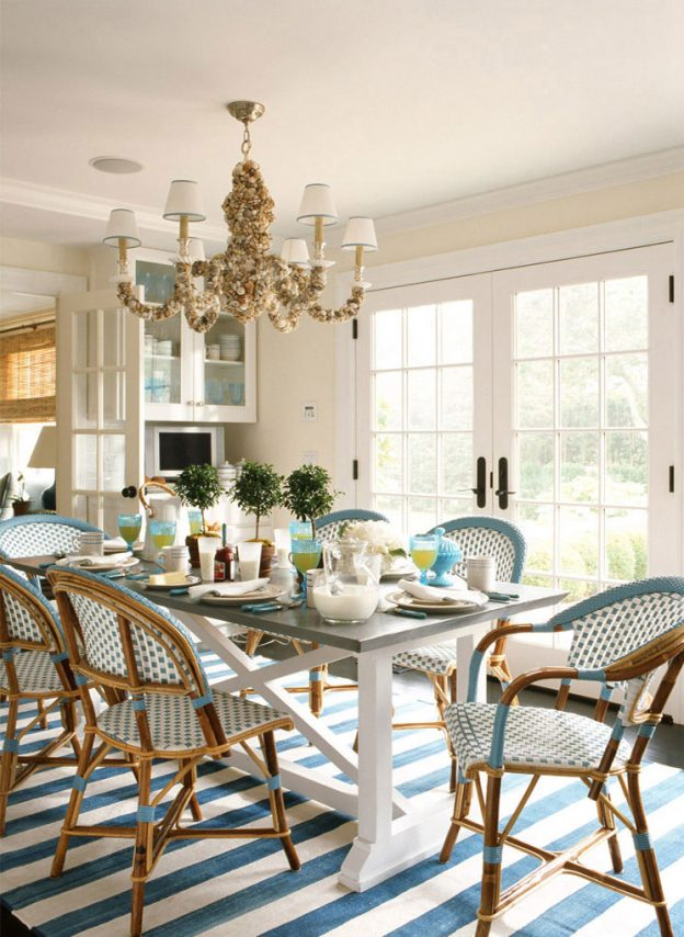 Beachy Traditional Dining Room Seashell Chandelier Bistro Chairs Ashley Whittaker