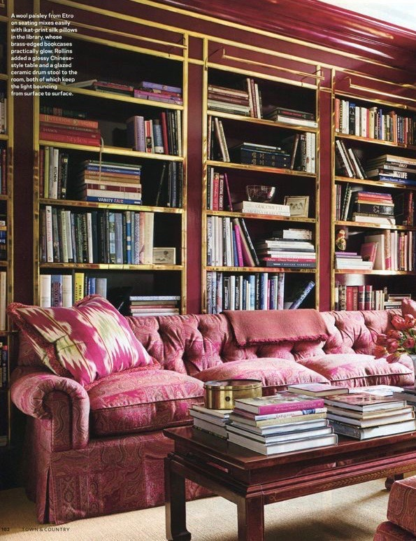 Red lacquered library designed by Miles Redd.