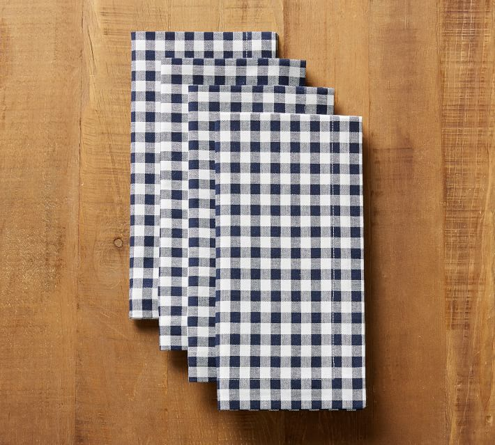 Navy Blue Gingham Napkins