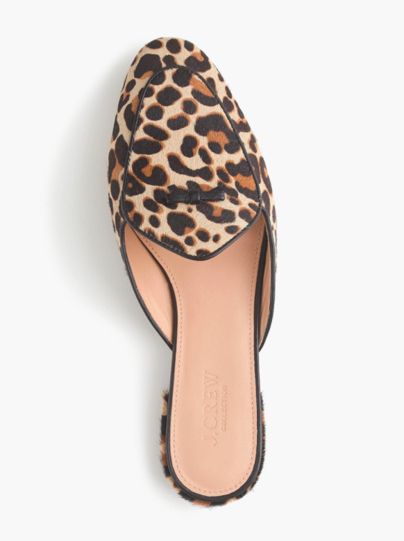 wholesale outlet 50% off premium selection leopard-print-calf-hair-piped-loafer-mules - Katie Considers
