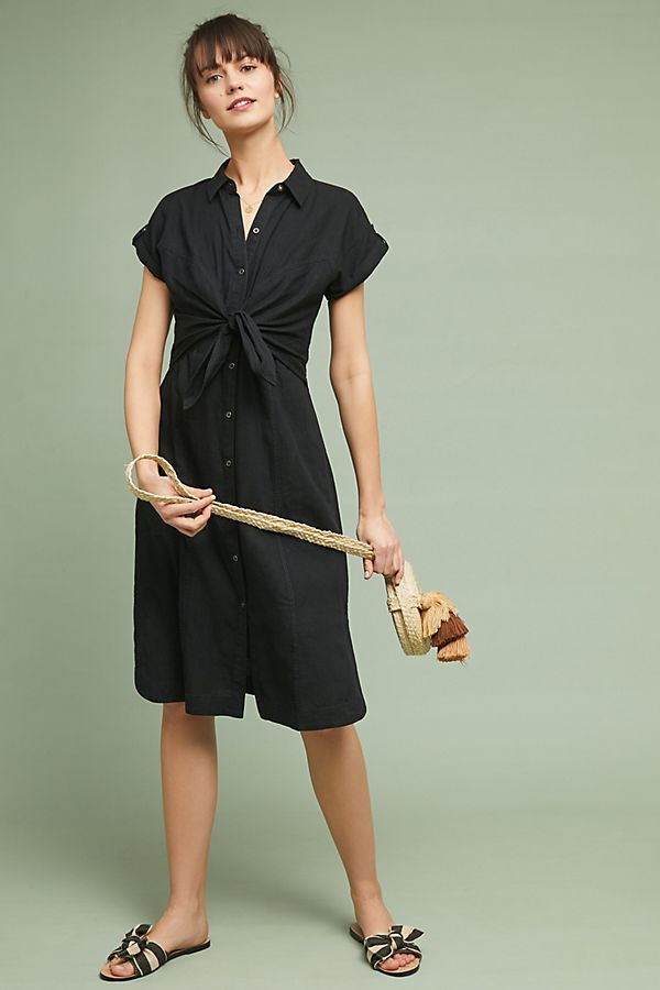 Black Linen Shirtdress