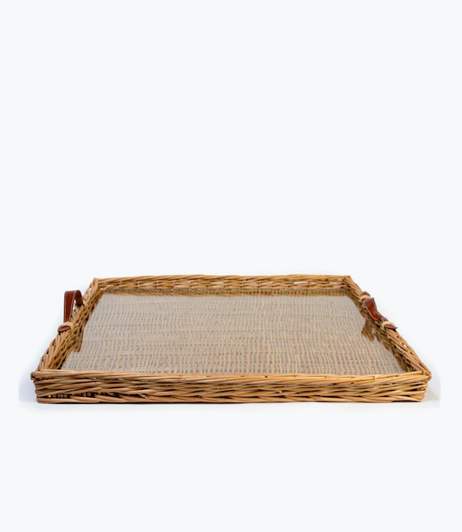 wicker tray leather handles