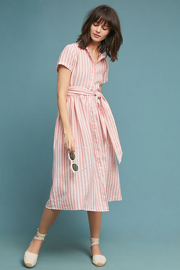 Pink Stripe Linen Shirtdress