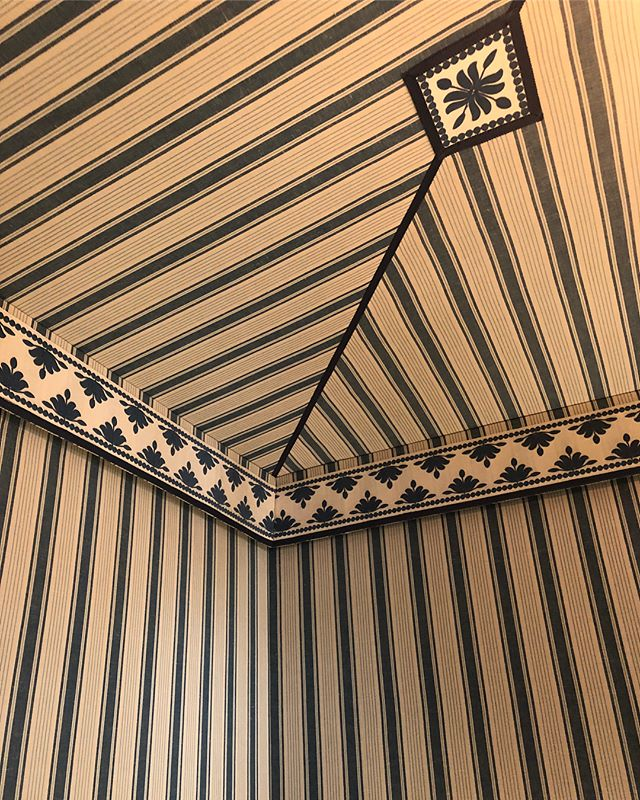 Mark D Sikes Kips Bay Showhouse 2018 Bedroom Tented Fabric Ceiling Blue White Stripes