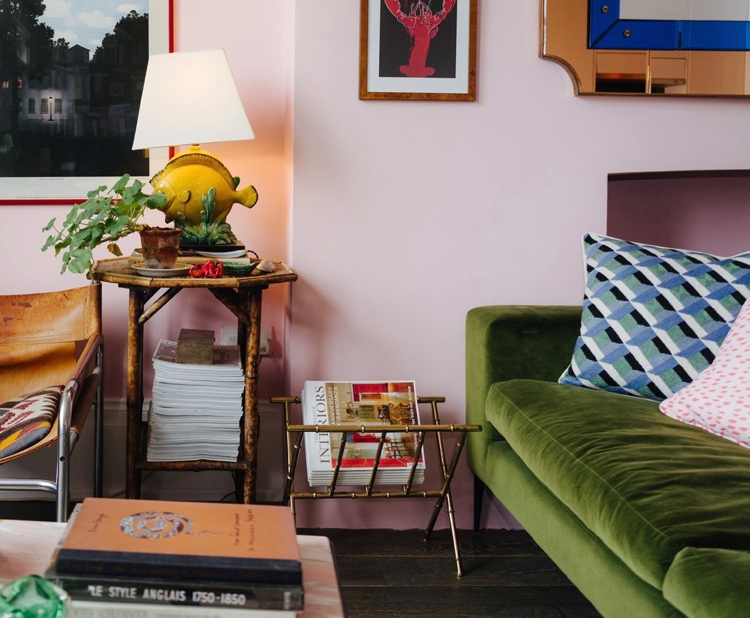 Pink Walls Fish Lamp Green Velvet Sofa  Brass Bamboo Magazine Rack Tortoise Bamboo Side Table Luke Edward Hall London Home Living Room