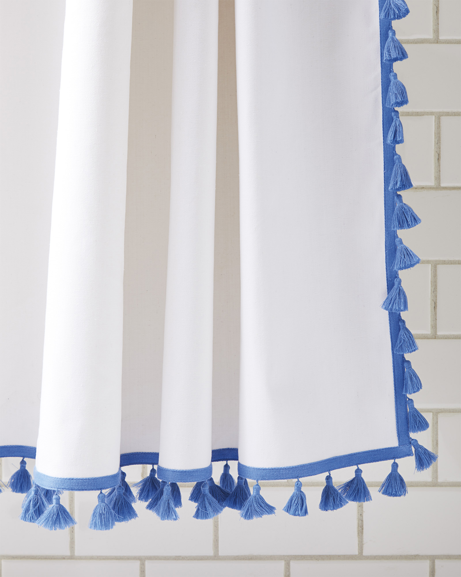 Tassel Shower Curtain Blue White