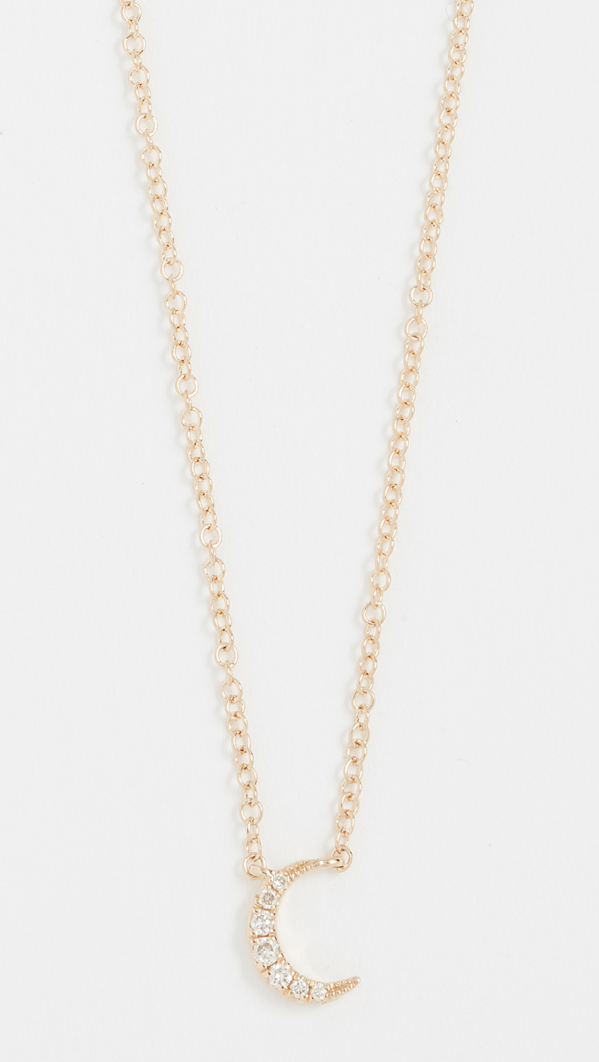 Gold and Diamond Crescent Mood Necklace