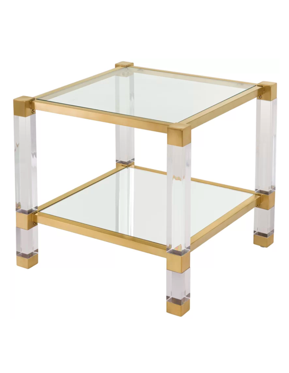 Acrylicglassbrasssidetablesquaretwotierlucite Katie - Two tier glass side table