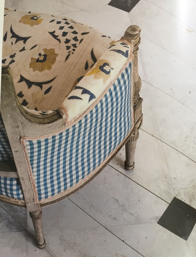 Furlow Gatewood Home Chair Robert Kime Fabric Blue Gingham
