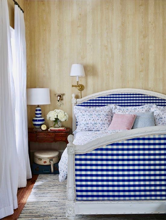 Bailey McCarthy Texas Home Blue Gingham Upholstered Bed